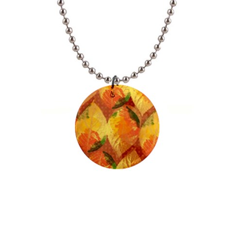 Fall Colors Leaves Pattern Button Necklaces