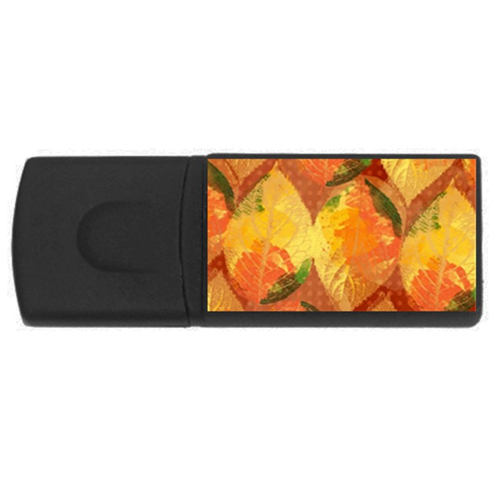 Fall Colors Leaves Pattern USB Flash Drive Rectangular (4 GB)