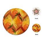 Fall Colors Leaves Pattern Playing Cards (Round)  Front