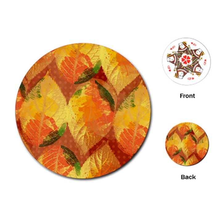 Fall Colors Leaves Pattern Playing Cards (Round)