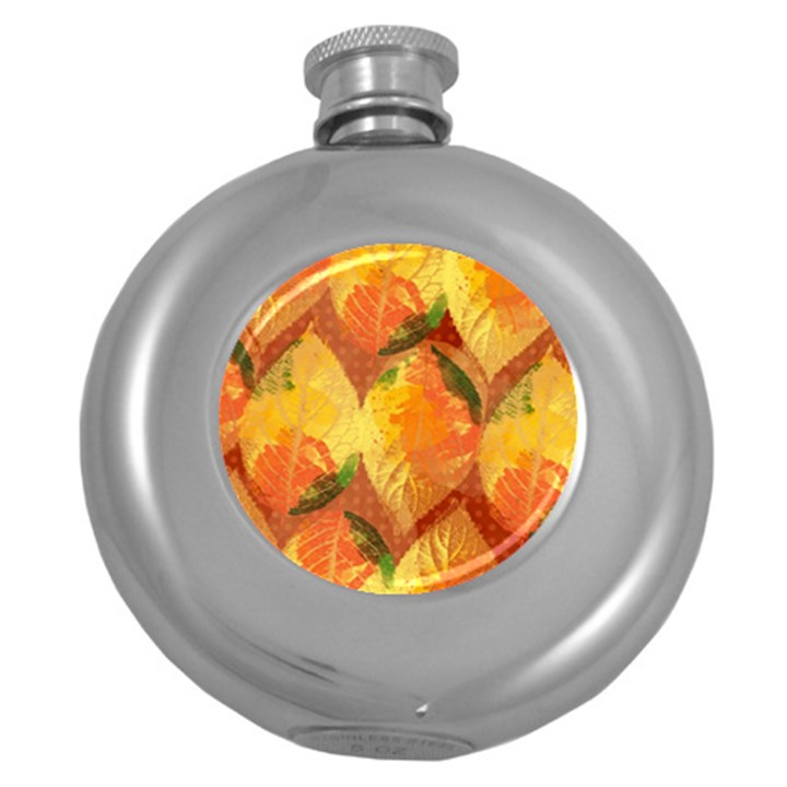 Fall Colors Leaves Pattern Round Hip Flask (5 oz)
