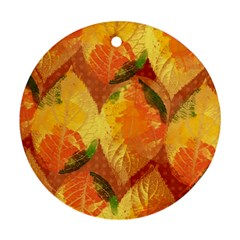 Fall Colors Leaves Pattern Round Ornament (two Sides)
