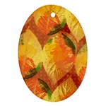 Fall Colors Leaves Pattern Oval Ornament (Two Sides) Front