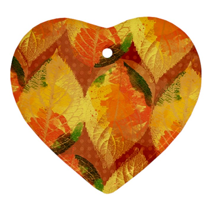 Fall Colors Leaves Pattern Heart Ornament (2 Sides)