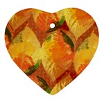 Fall Colors Leaves Pattern Heart Ornament (2 Sides) Back