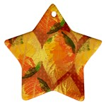 Fall Colors Leaves Pattern Star Ornament (Two Sides)  Back