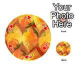 Fall Colors Leaves Pattern Playing Cards 54 (Round)  Front - Heart9