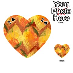 Fall Colors Leaves Pattern Playing Cards 54 (Heart)
