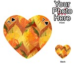 Fall Colors Leaves Pattern Playing Cards 54 (Heart)  Front - Spade7