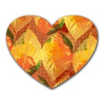 Fall Colors Leaves Pattern Heart Mousepads Front