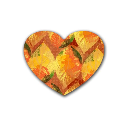 Fall Colors Leaves Pattern Heart Coaster (4 pack)