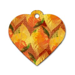 Fall Colors Leaves Pattern Dog Tag Heart (two Sides)