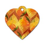 Fall Colors Leaves Pattern Dog Tag Heart (Two Sides) Front