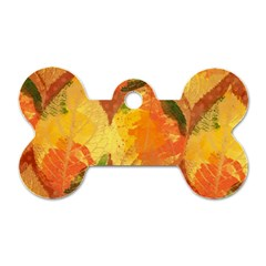 Fall Colors Leaves Pattern Dog Tag Bone (One Side)
