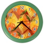 Fall Colors Leaves Pattern Color Wall Clocks Front