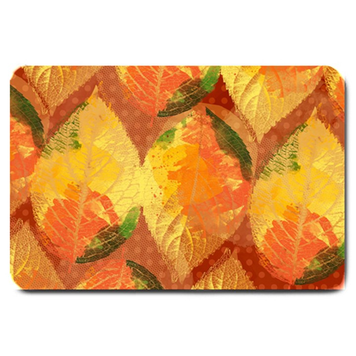 Fall Colors Leaves Pattern Large Doormat