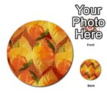 Fall Colors Leaves Pattern Multi-purpose Cards (Round)  Back 4