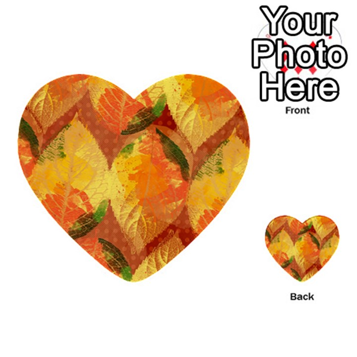 Fall Colors Leaves Pattern Multi-purpose Cards (Heart)