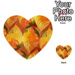 Fall Colors Leaves Pattern Multi-purpose Cards (Heart)  Front 36