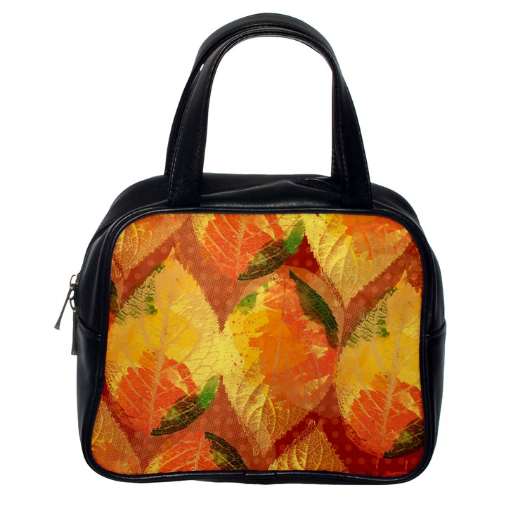 Fall Colors Leaves Pattern Classic Handbags (One Side)