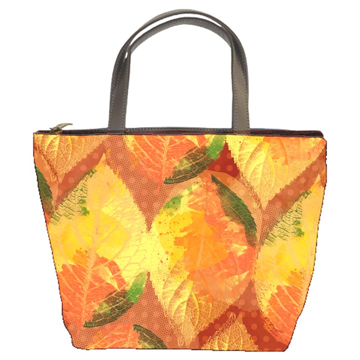 Fall Colors Leaves Pattern Bucket Bags