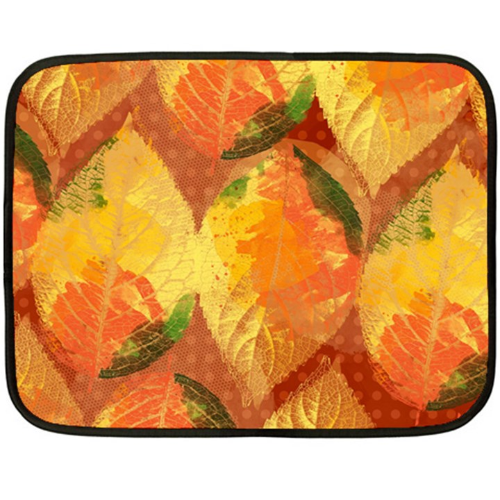 Fall Colors Leaves Pattern Fleece Blanket (Mini)