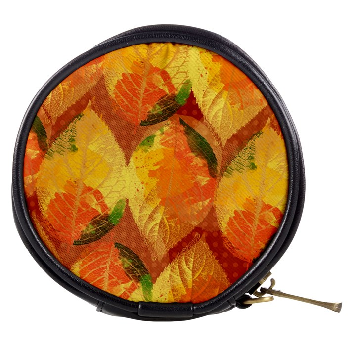Fall Colors Leaves Pattern Mini Makeup Bags