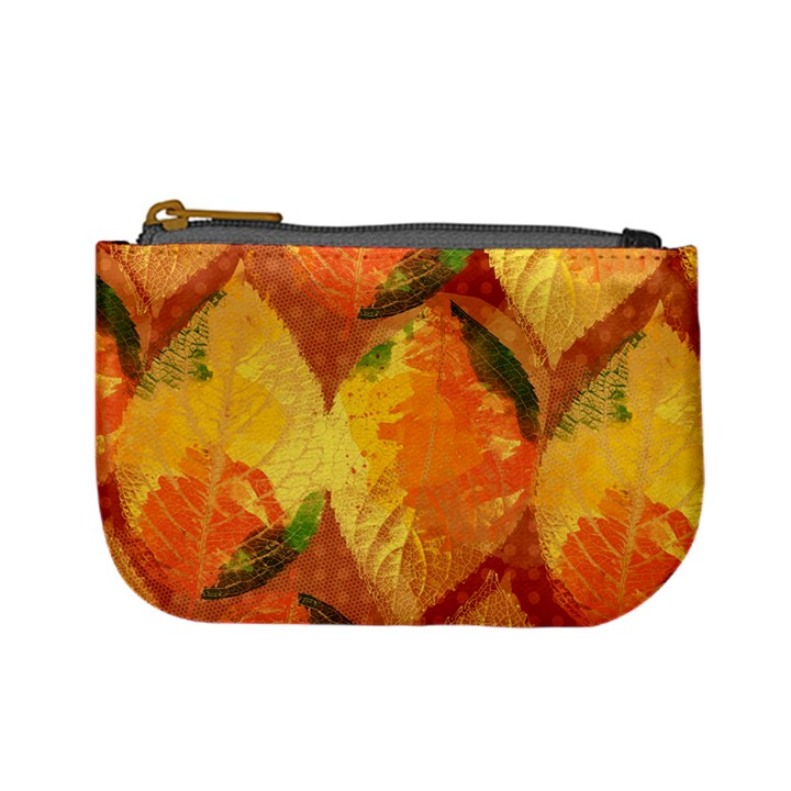 Fall Colors Leaves Pattern Mini Coin Purses