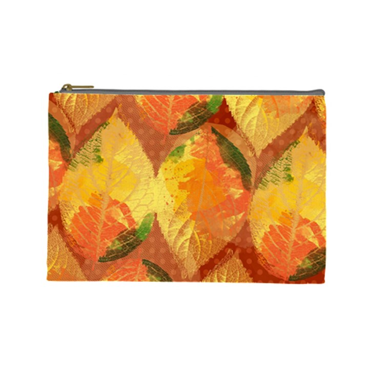 Fall Colors Leaves Pattern Cosmetic Bag (Large)