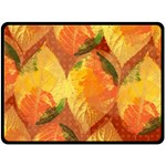 Fall Colors Leaves Pattern Fleece Blanket (Large)  80 x60 Blanket Front