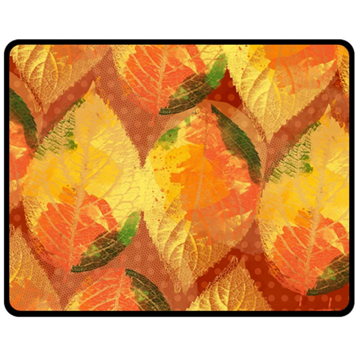 Fall Colors Leaves Pattern Fleece Blanket (Medium)