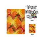 Fall Colors Leaves Pattern Playing Cards 54 (Mini)  Front - Heart7