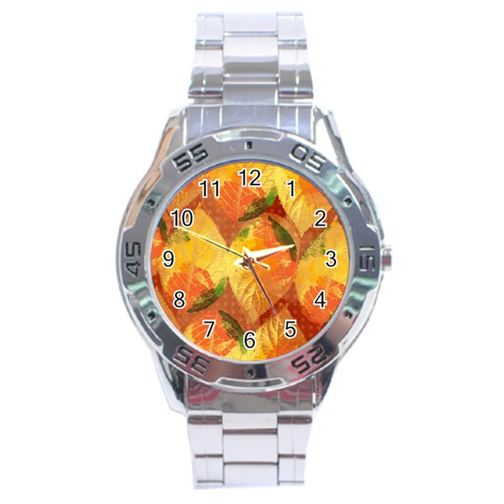 Fall Colors Leaves Pattern Stainless Steel Analogue Watch