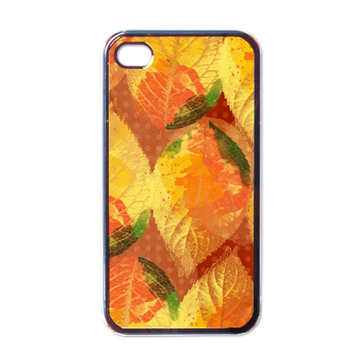 Fall Colors Leaves Pattern Apple iPhone 4 Case (Black)