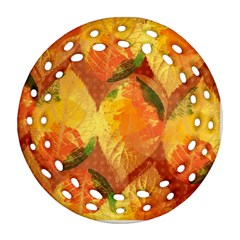 Fall Colors Leaves Pattern Ornament (Round Filigree)
