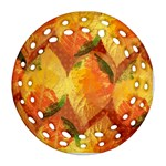 Fall Colors Leaves Pattern Ornament (Round Filigree)  Front
