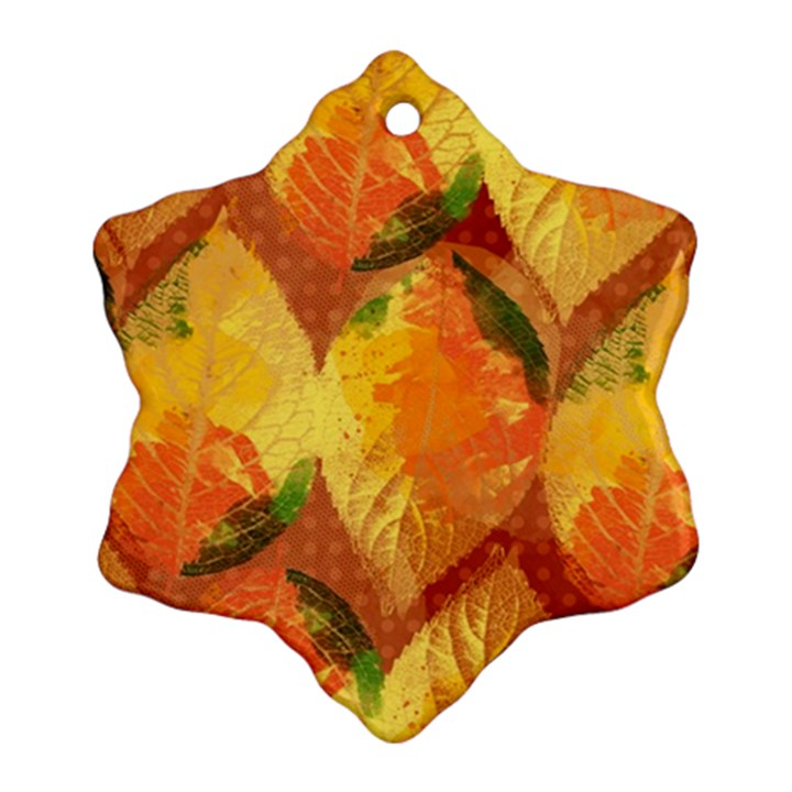 Fall Colors Leaves Pattern Snowflake Ornament (2-Side)