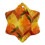 Fall Colors Leaves Pattern Snowflake Ornament (2-Side) Back