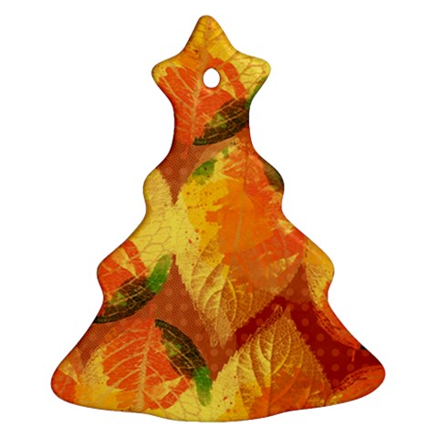Fall Colors Leaves Pattern Christmas Tree Ornament (2 Sides)