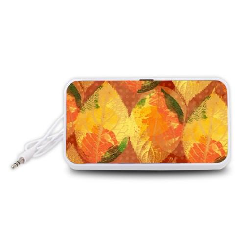 Fall Colors Leaves Pattern Portable Speaker (White)