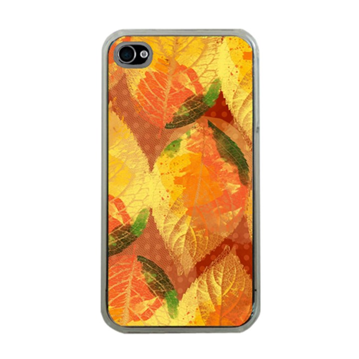 Fall Colors Leaves Pattern Apple iPhone 4 Case (Clear)