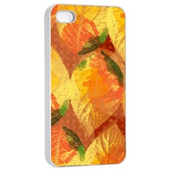 Fall Colors Leaves Pattern Apple Iphone 4/4s Seamless Case (white)