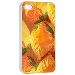 Fall Colors Leaves Pattern Apple iPhone 4/4s Seamless Case (White) Front