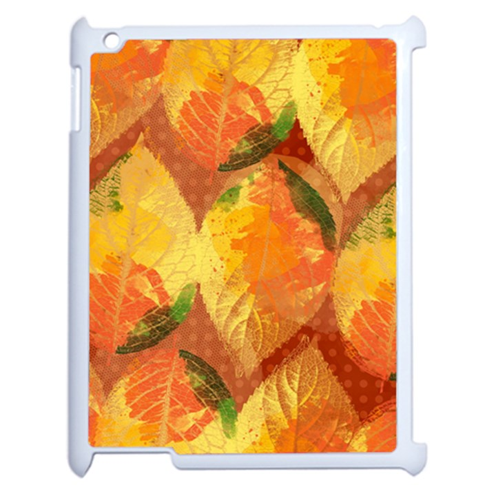 Fall Colors Leaves Pattern Apple iPad 2 Case (White)