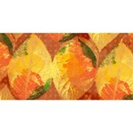 Fall Colors Leaves Pattern Twin Hearts 3D Greeting Card (8x4) Back
