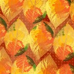 Fall Colors Leaves Pattern Twin Heart Bottom 3D Greeting Card (8x4) Inside