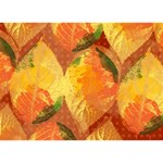 Fall Colors Leaves Pattern Circle Bottom 3D Greeting Card (7x5) Front