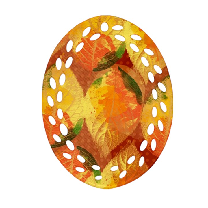 Fall Colors Leaves Pattern Oval Filigree Ornament (2-Side)