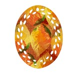 Fall Colors Leaves Pattern Oval Filigree Ornament (2-Side)  Back