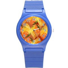 Fall Colors Leaves Pattern Round Plastic Sport Watch (s)